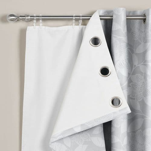 "66"" x 90"" Pair Of 3 Pass Thermal Blackout White Curtain Linings For Eyelet Ringtop"