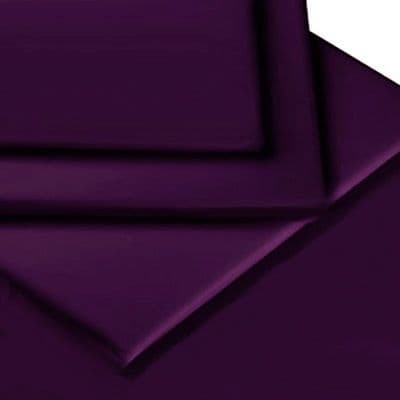 AUBERGINE PURPLE COLOUR PERCALE MATTRESS FITTED VALANCE SHEET