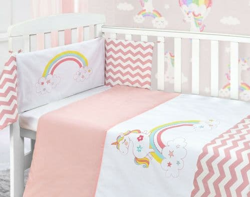 BABY COT NURSERY BEDDING 100% COTTON  2PC BALE COT QUILT & BUMPER PINK UNICORN GIRLS