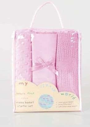 BABY'S FIRST MOSES BASKET 3pc PINK NURSERY BEDDING STARTER GIFT SET