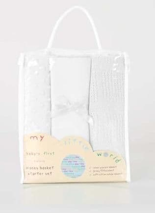 BABY'S FIRST MOSES BASKET 3pc WHITE NURSERY BEDDING STARTER GIFT SET