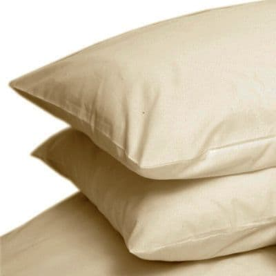 BEIGE COLOUR PERCALE HOUSEWIFE PAIR OF PILLOWCASES