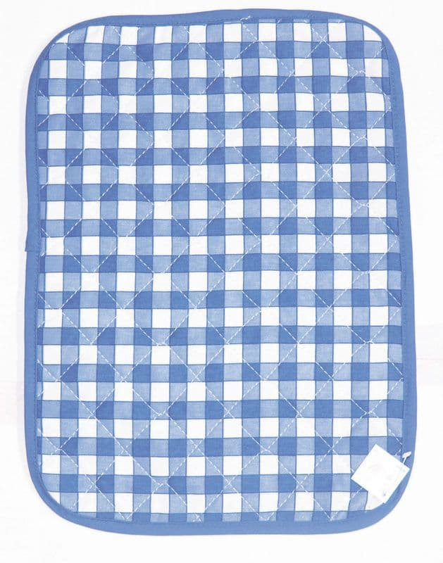 Blue Gingham Check Quilted Table Placemat 100% Cotton