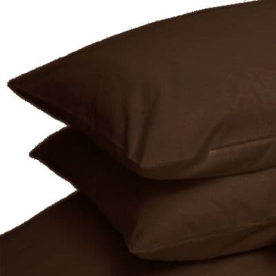 BROWN COLOUR PERCALE HOUSEWIFE PAIR OF PILLOWCASES