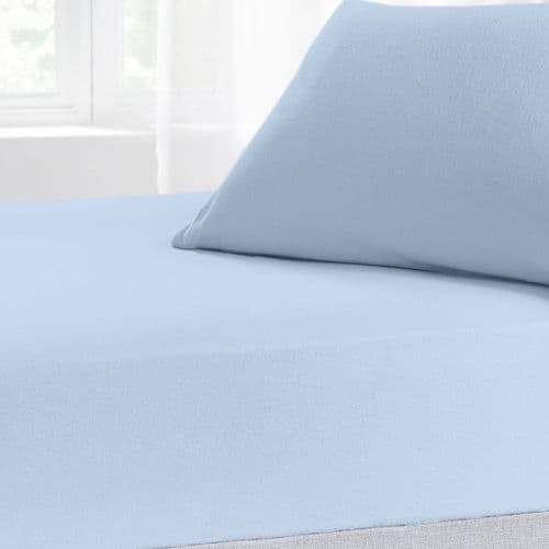 Brushed Cotton Thermal Soft Flannelette Fitted Sheet, All Sizes, Blue