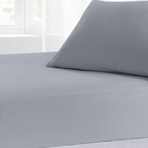 Brushed Cotton Thermal Soft Flannelette Fitted Sheet, All Sizes, Grey