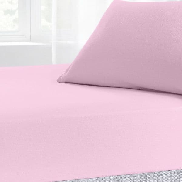 Brushed Cotton Thermal Soft Flannelette Fitted Sheet, All Sizes, Pink