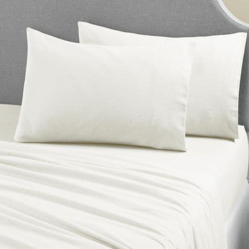 Brushed Cotton Thermal Soft Flannelette Flat Sheet, All Sizes, Cream
