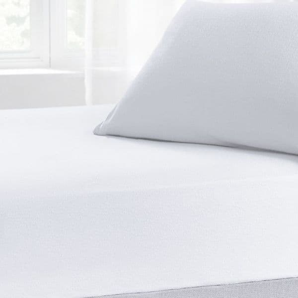 Brushed Cotton Thermal Soft Flannelette Flat Sheet, All Sizes, White