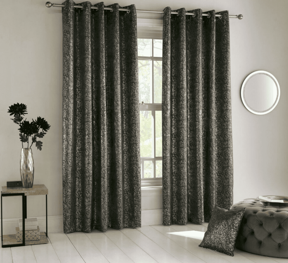 CHARCOAL GLAM THERMAL SPARKLE METALLIC BLING LINED BLOCKOUT EYELET RING TOP CURTAINS OR CUSHION