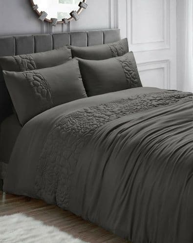 Charcoal Quilted Rose Floral Embossed Bedding Set Duvet Cover and Pillowcases