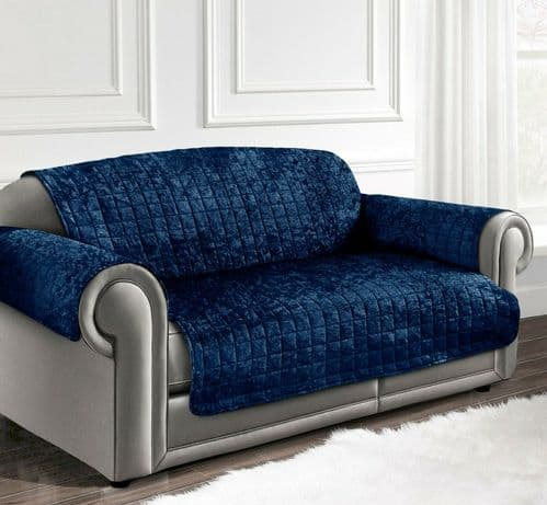 CRUSHED VELVET FURNITURE PROTECTOR QUILTED SOFA CHAIR SETTEE COVER THROW NAVY BLUE