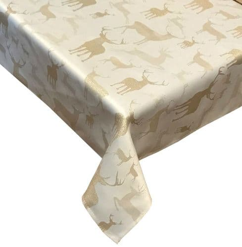 DEER STAG FESTIVE XMAS CHRISTMAS TABLECLOTH OR NAPKINS RUNNERS DINNER PARTY LINEN CREAM GOLD