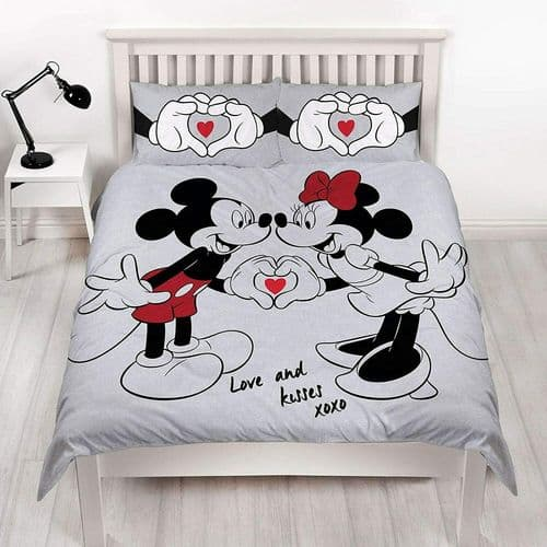 Double Bed Duvet Cover Set Mickey & Minnie Love & Kisses Grey Reversible Bedding