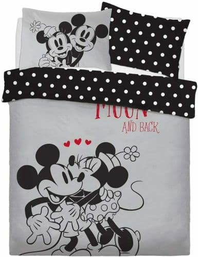 Double Bed Duvet Cover Set Minnie And Mickey Love You Polkadot Black Reversible
