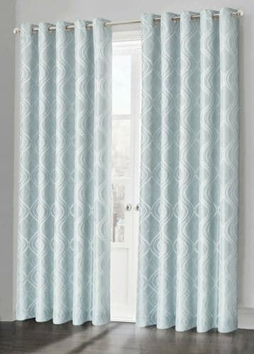Duck Egg Fully Lined Jacquard Waves Swirl Ready Made Ring Top Curtain Pair Eyelet Curtains