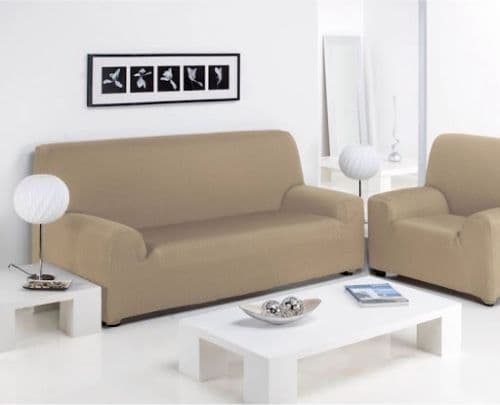FURNITURE PROTECTOR SOFA ARM CHAIR SETTEE ELASTIC STRETCH SLIP COVER THROW BEIGE COLOUR