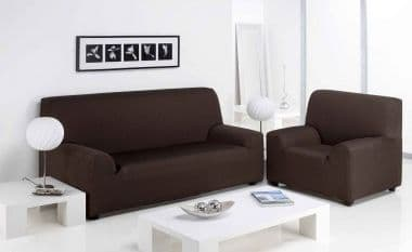 FURNITURE PROTECTOR SOFA ARM CHAIR SETTEE ELASTIC STRETCH SLIP COVER THROW BROWN COLOUR