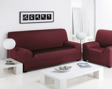 FURNITURE PROTECTOR SOFA ARM CHAIR SETTEE ELASTIC STRETCH SLIP COVER THROW BURGUNDY COLOUR