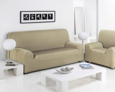 FURNITURE PROTECTOR SOFA ARM CHAIR SETTEE ELASTIC STRETCH SLIP COVER THROW CREAM COLOUR