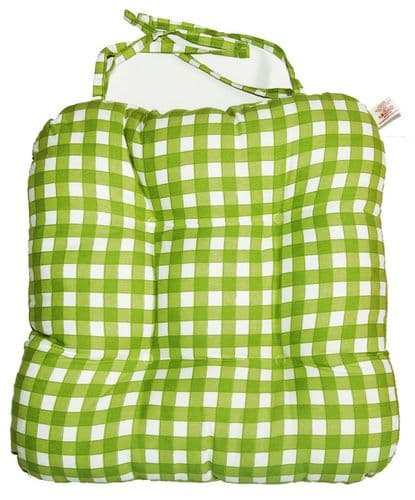 Green Gingham Check Kitchen Dining Chair Seat Pad
