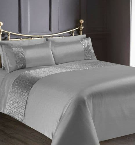 GREY SILVER SHIMMER STYLISH GLITZY DUVET COVER LUXURY MODERN BEDDING RANGE