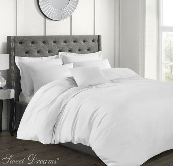 Hotel Quality Luxury 200 Thread Count 100% Pure Cotton Percale Duvet Cover, Double Size, White