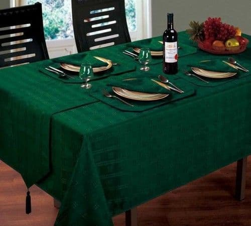 JACQUARD DINING TABLECLOTHS ROUND OBLONG SQUARE GREEN COLOUR