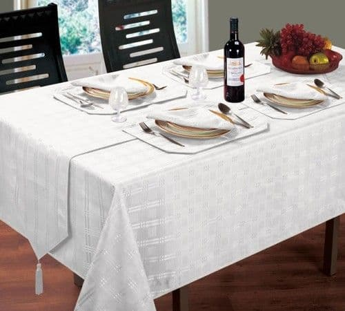 JACQUARD DINING TABLECLOTHS ROUND OBLONG SQUARE WHITE COLOUR