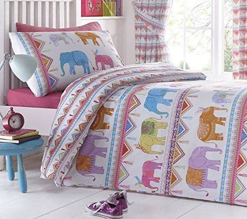 KIDS BEDROOM BEDDING REVERSIBLE DUVET QUILT COVER SET CARNIVAL INDIAN ELEPHANTS