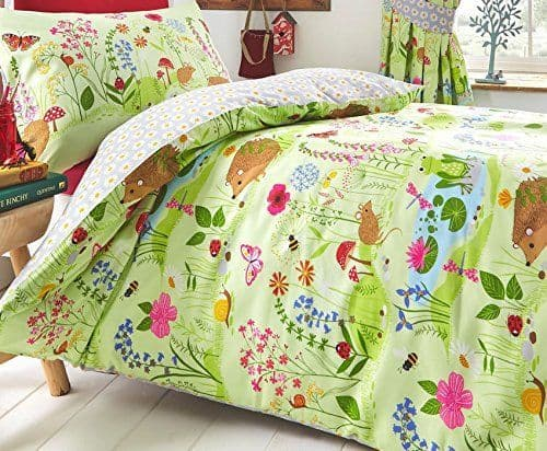 KIDS BEDROOM BEDDING REVERSIBLE FLORAL DUVET COVER SET HEDGEHOG LADYBIRD ANIMALS