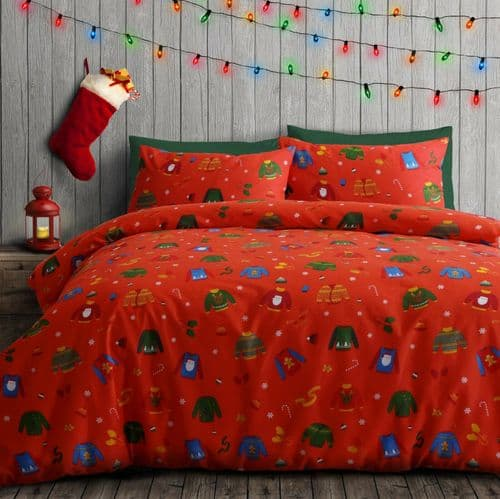 KNITTED JUMPERS RED CHRISTMAS XMAS FESTIVE BEDDING DUVET COVER & PILLOWCASE SET
