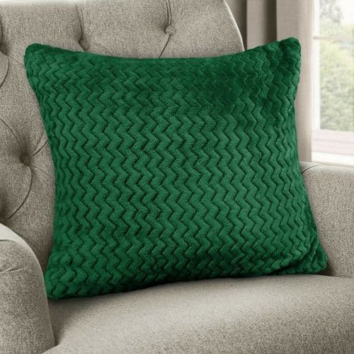 Large Luxury Chevron Zig Zag Super Soft Velvet Plush Scatter Cushion Emerald Green 56cm x 56cm