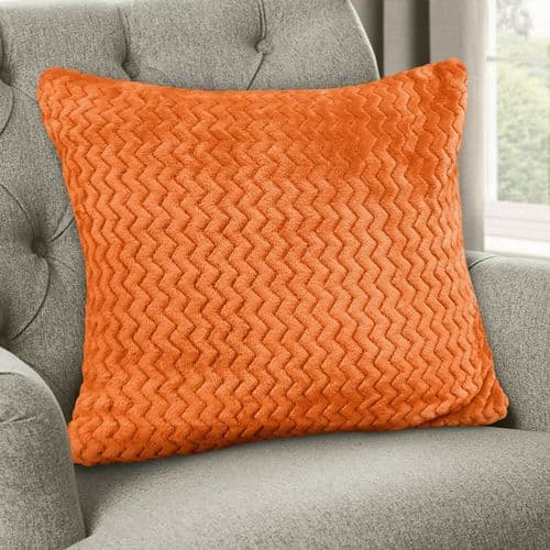 Large Luxury Chevron Zig Zag Super Soft Velvet Plush Scatter Cushion Plain Orange 56cm x 56cm