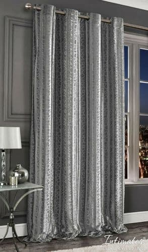 Luxury Crushed Velvet Thermal Embossed Marble Effect One Door Curtain Panel Lined 55x54'' Silver