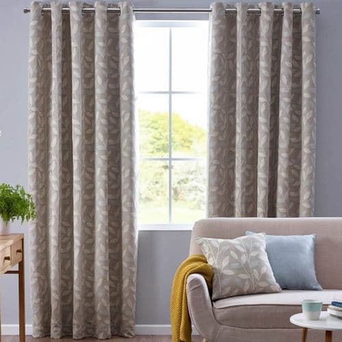 Luxury Pippa Modern Floral Coloured Leaf Design Eyelet Fully Lined Curtains Duck Egg