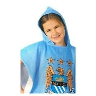 Manchester City FC Football Official Kids Hooded Poncho Towel