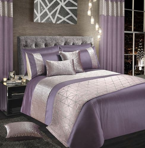 MAUVE SILVER SHIMMER STYLISH GLITZY DUVET COVER LUXURY MODERN BEDDING RANGE