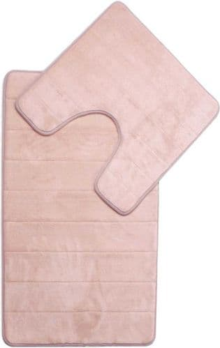 MEMORY FOAM LUXURY SUPER SOFT NON SLIP BATH MAT & PEDESTAL SET BEIGE COLOUR
