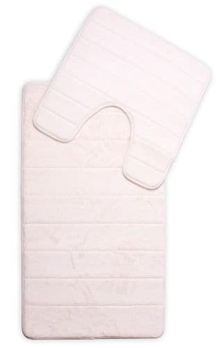 MEMORY FOAM LUXURY SUPER SOFT NON SLIP BATH MAT & PEDESTAL SET CREAM COLOUR