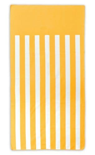 Microfibre Lightweight Beach Towel For Holiday Travel Camping Yoga Gym 70x140cm Yellow Stripes