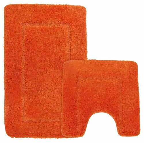 Microfibre Plain Quick Dry Non Slip Luxury Bath Mat & Pedestal Mat Super Soft Orange