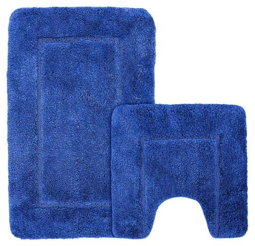 Microfibre Plain Quick Dry Non Slip Luxury Bath Mat & Pedestal Mat Super Soft Royal Blue