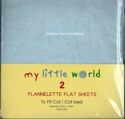NURSERY 2 FLANNELETTE COTTON FLAT SHEETS COT BED BLUE