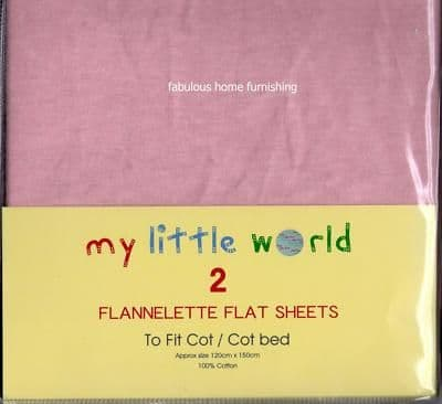 NURSERY 2 FLANNELETTE COTTON FLAT SHEETS COT BED PINK