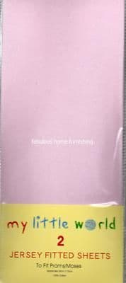 NURSERY 2 JERSEY COTTON FITTED SHEETS PRAM MOSES PINK