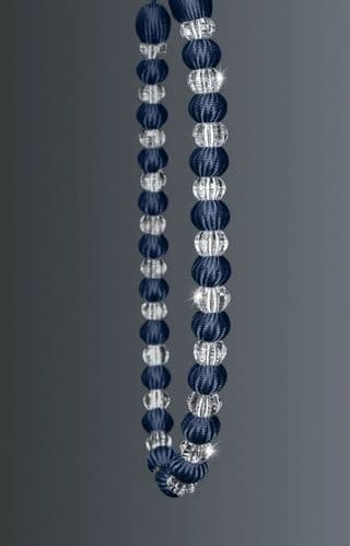 One Crystal Beaded Modern Curtain Rope Tie Back, Decorative Holdback, Navy