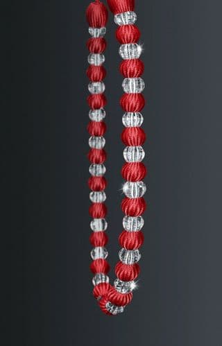 One Crystal Beaded Modern Curtain Rope Tie Back, Decorative Holdback, Red