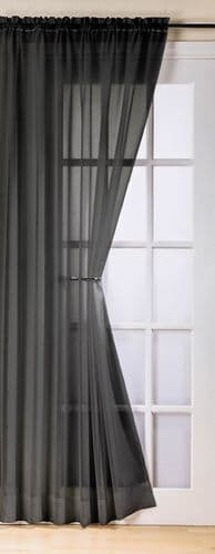PLAIN BLACK COLOUR SLOT TOP READY MADE STYLISH LIGHT NET VOILE CURTAIN