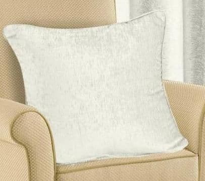 PLAIN CHENILLE FABRIC CUSHION CREAM COLOUR